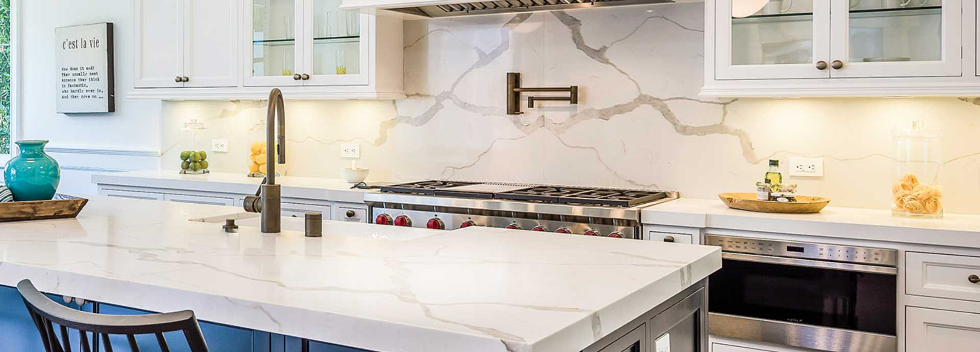 quartz kitchen countertops in white and gray
