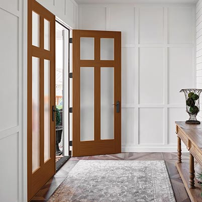 Interior entry view of redwood and frosted glass Thermatru Exterior French Doors